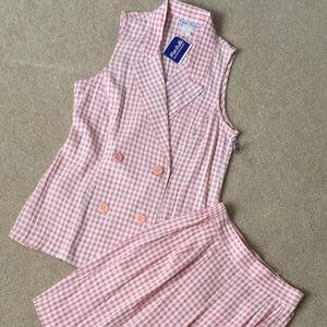 Vintage David Hollis Pink Gingham Check Shorts Set
